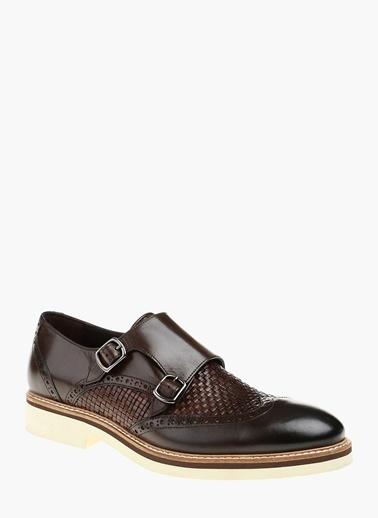 Divarese %100 Deri Çift Tokalı Klasik Ayakkabı Kahve